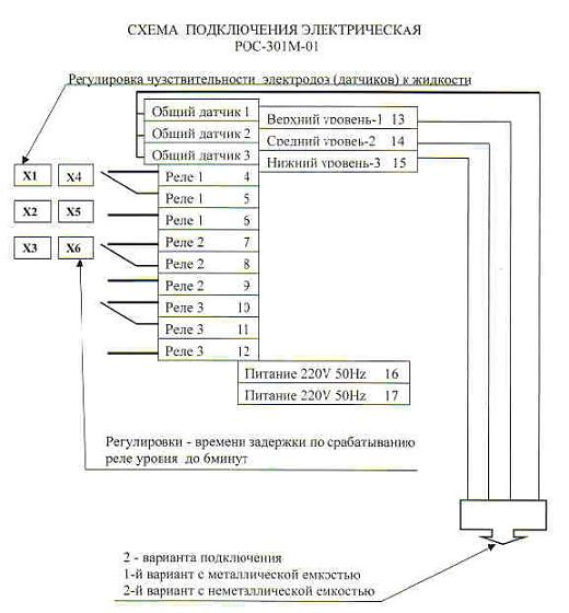 Схема подключения датчиков-реле уровня РОС-301М-01.